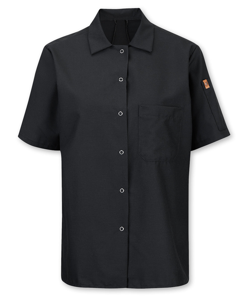 Women's Mimix™ OIlBlok™ Cook Shirt (black) as shown in the UniFirst rental catalog