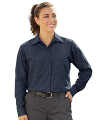 Women's MIMIX™ Ripstop Work Shirts in Navy Blue as shown in the UniFirst UniForm Rental Catalog