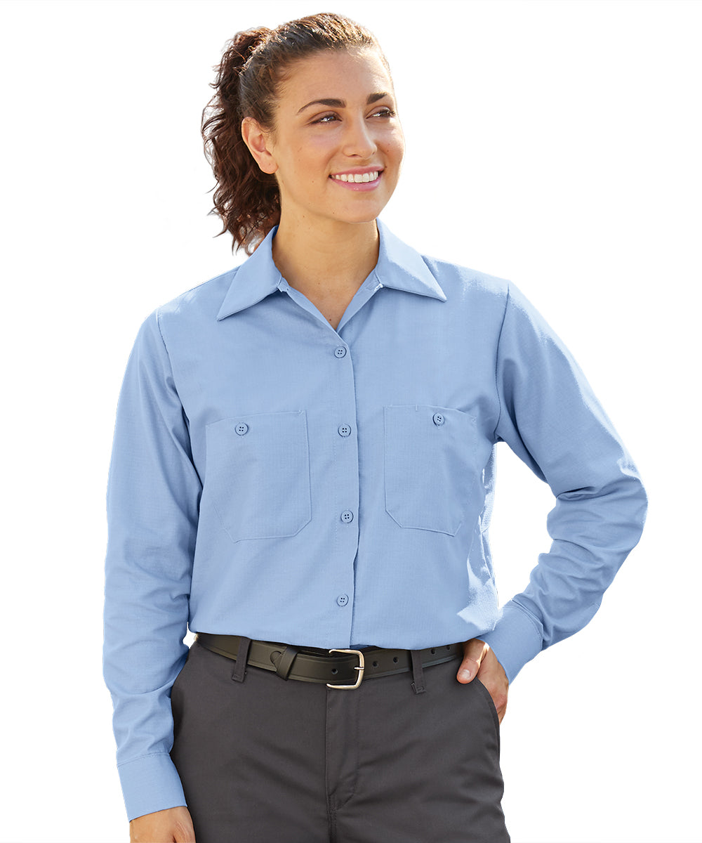 Women's MIMIX™ Ripstop Work Shirts in Lt. Blue as shown in the UniFirst UniForm Rental Catalog
