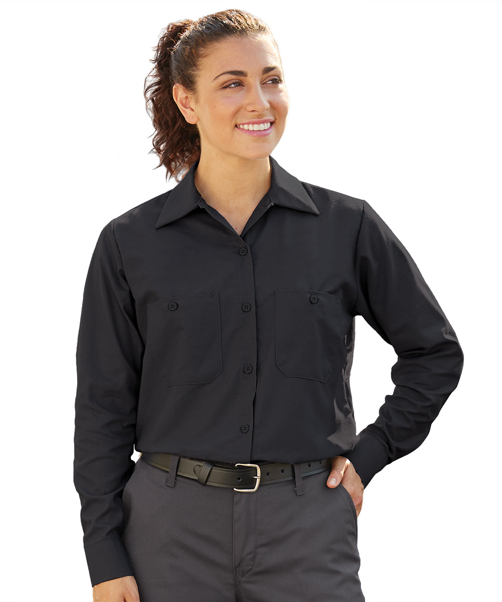 Women's MIMIX™ Ripstop Work Shirts in Black as shown in the UniFirst UniForm Rental Catalog