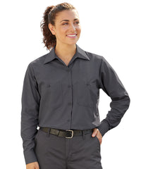 Women's MIMIX™ Ripstop Work Shirts in Charcoal as shown in the UniFirst UniForm Rental Catalog