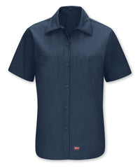 Women's Short Sleeve MIMIX™ Ripstop Work Shirt in Navy as shown in the UniFirst UniForm Rental Catalog