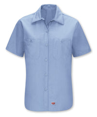Women's Short Sleeve MIMIX™ Ripstop Work Shirt in Lt. Blue as shown in the UniFirst UniForm Rental Catalog