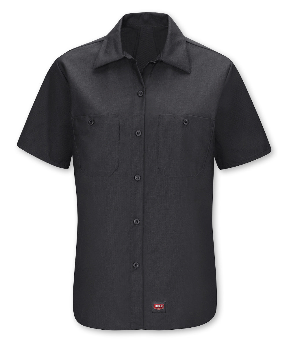 Women's Short Sleeve MIMIX™ Ripstop Work Shirt in Black as shown in the UniFirst UniForm Rental Catalog