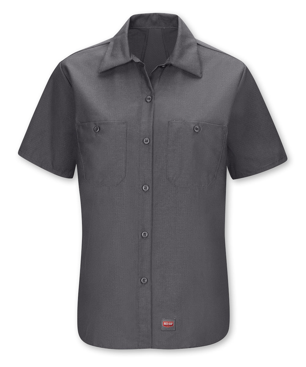 Women's Short Sleeve MIMIX™ Ripstop Work Shirt in Charcoal as shown in the UniFirst UniForm Rental Catalog