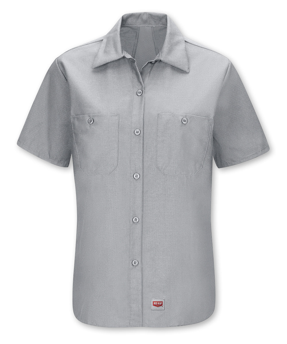Women's Short Sleeve MIMIX™ Ripstop Work Shirt in Lt. Grey as shown in the UniFirst UniForm Rental Catalog