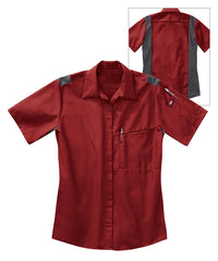 Women's OilBlok Performance Short Sleeve Shirts in Red/Charcoal as shown in the UniFirst UniForm Rental Catalog