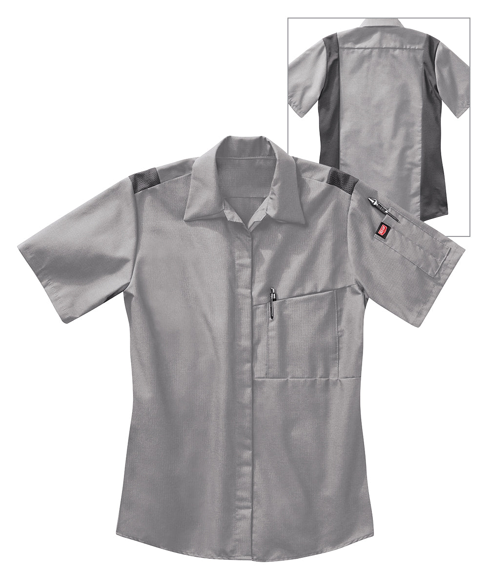 Women's OilBlok Performance Short Sleeve Shirts in Lt. Grey/Dk. Grey as shown in the UniFirst UniForm Rental Catalog