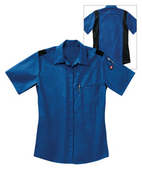 Women's OilBlok Performance Short Sleeve Shirts in Royal/Black as shown in the UniFirst UniForm Rental Catalog