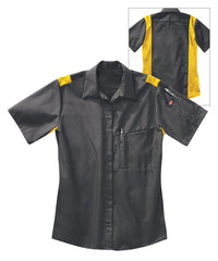 Women's OilBlok Performance Short Sleeve Shirts in Dk. Grey/Yellow as shown in the UniFirst UniForm Rental Catalog
