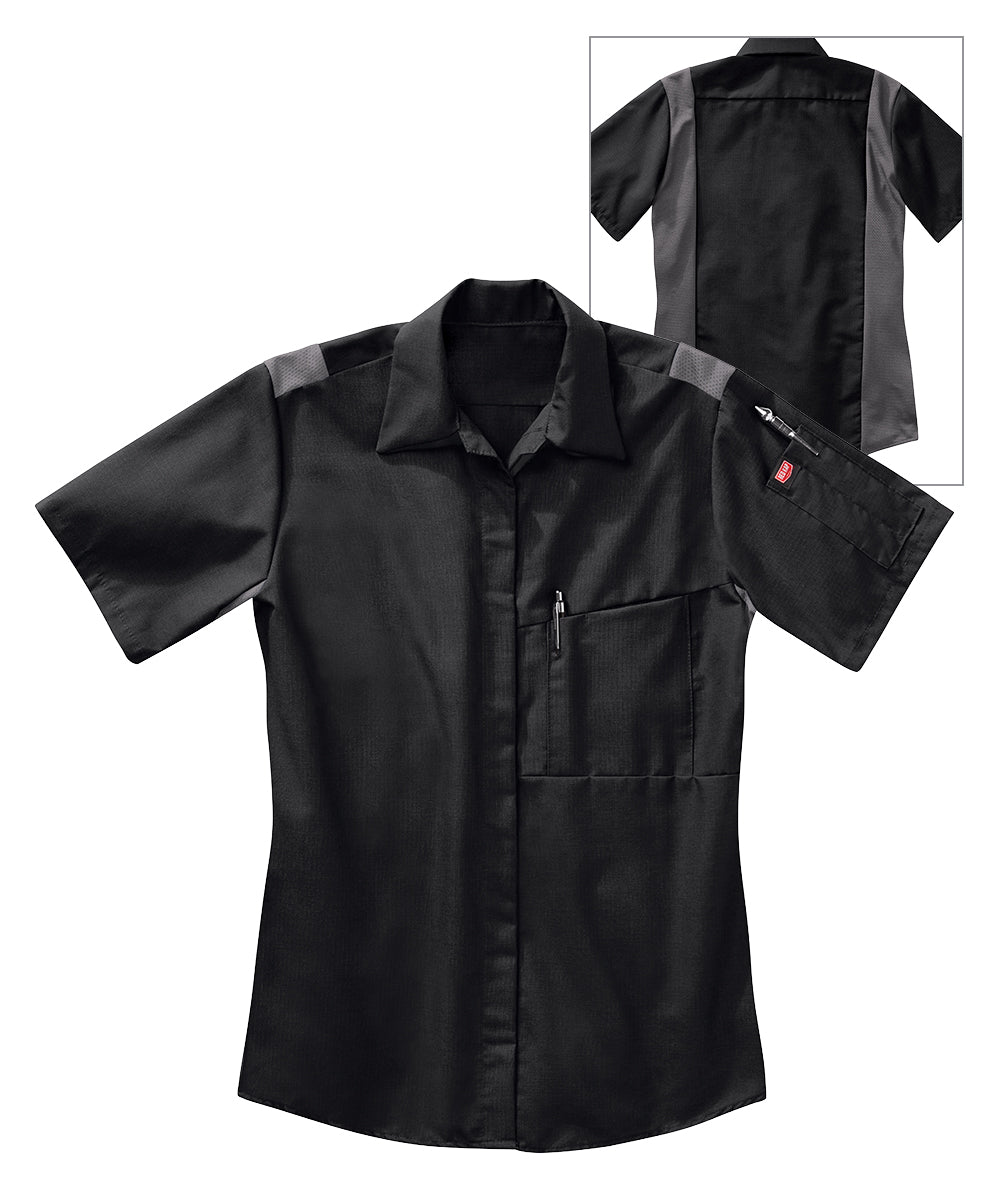 Women's OilBlok Performance Short Sleeve Shirts in Black/Charcoal as shown in the UniFirst UniForm Rental Catalog