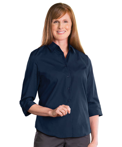 3/4 Sleeve Blouse (Navy) Shown in UniFirst Uniform Rental Service Catalog