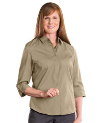 3/4 Sleeve Blouse (Tan) Shown in UniFirst Uniform Rental Service Catalog