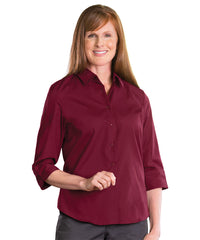 3/4 Sleeve Blouse (Burgundy) Shown in UniFirst Uniform Rental Service Catalog