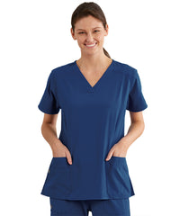 Women's WonderWink INDY™ V-Neck Scrub Tops (Navy) as shown in the UniFirst Uniform Rental Catalog.