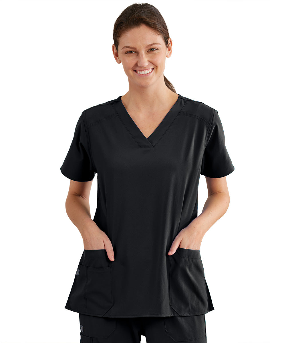 Women's WonderWink INDY™ V-Neck Scrub Tops (Black) as shown in the UniFirst Uniform Rental Catalog.