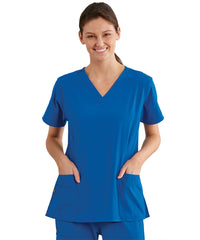 omen's WonderWink INDY™ V-Neck Scrub Tops (Royal Blue) as shown in the UniFirst Uniform Rental Catalog.