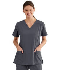Women's WonderWink INDY™ V-Neck Scrub Tops (Pewter) as shown in the UniFirst Uniform Rental Catalog.