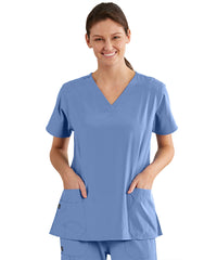 Women's WonderWink INDY™ V-Neck Scrub Tops (Ciel Blue) as shown in the UniFirst Uniform Rental Catalog.