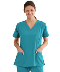 Women's WonderWink INDY™ V-Neck Scrub Tops (Teal) as shown in the UniFirst Uniform Rental Catalog.