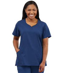 Women's WonderWink INDY™ Notch-Neck Scrub Tops (Navy) as shown in the UniFirst Uniform Rental Catalog.