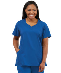 Women's WonderWink INDY™ Notch-Neck Scrub Tops (Royal Blue) as shown in the UniFirst Uniform Rental Catalog.