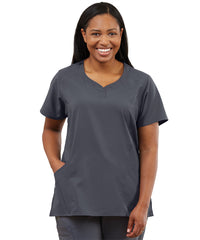 Women's WonderWink INDY™ Notch-Neck Scrub Tops (Pewter) as shown in the UniFirst Uniform Rental Catalog.