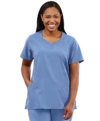 Women's WonderWink INDY™ Notch-Neck Scrub Tops (Ciel Blue) as shown in the UniFirst Uniform Rental Catalog.