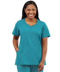 Women's WonderWink INDY™ Notch-Neck Scrub Tops (Teal) as shown in the UniFirst Uniform Rental Catalog.
