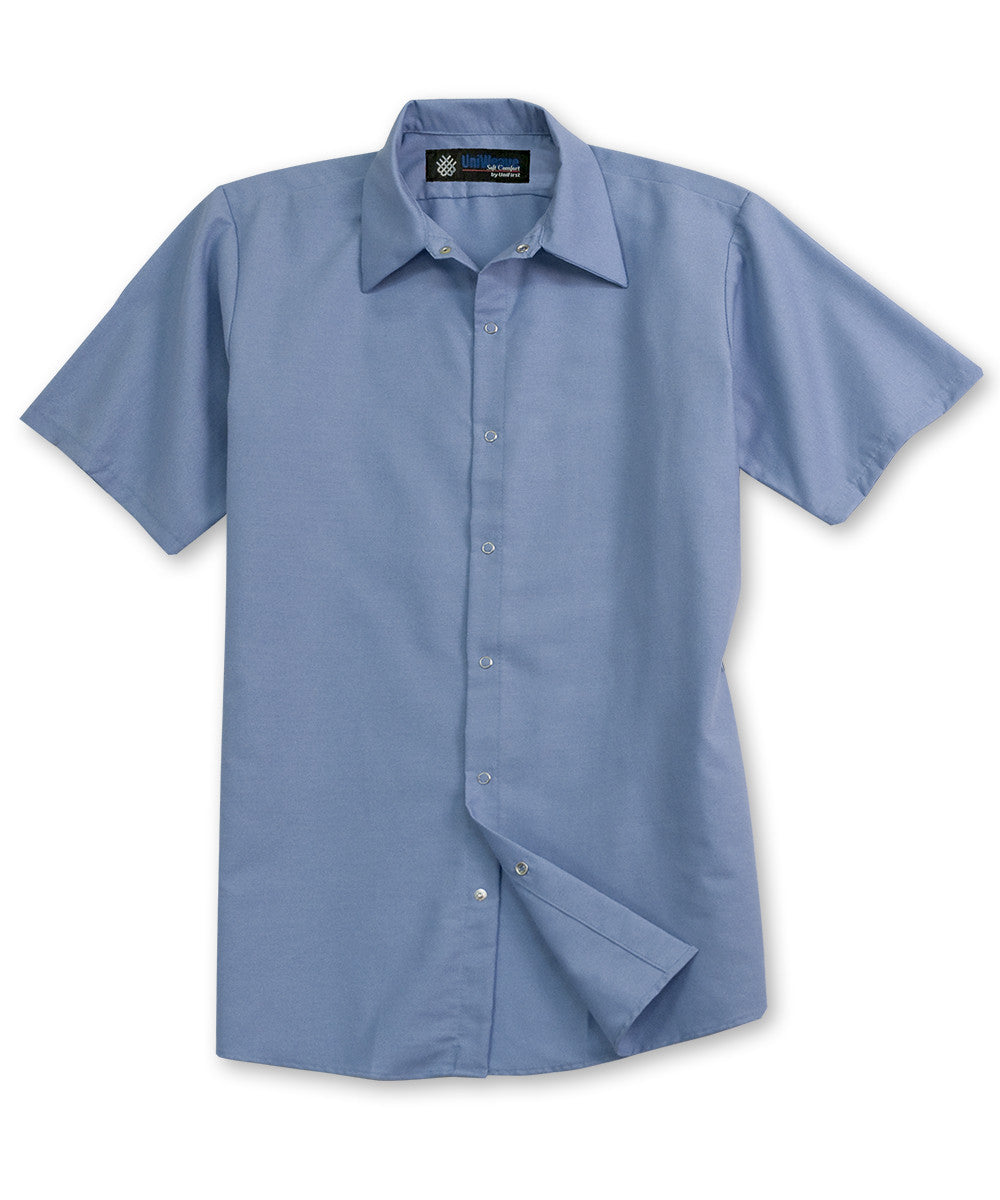 Light Blue UniFirst® Food Service Shirts Shown in UniFirst Uniform Rental Service Catalog