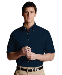 Navy Blue Men's Button-Down Poplin Shirts Shown in UniFirst Uniform Rental Service Catalog