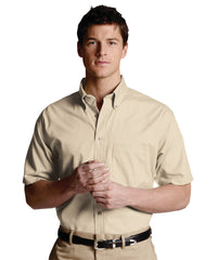 Tan Men's Button-Down Poplin Shirts Shown in UniFirst Uniform Rental Service Catalog