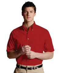 Red Men's Button-Down Poplin Shirts Shown in UniFirst Uniform Rental Service Catalog