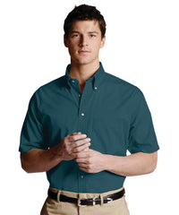 Dark Teal Men's Button-Down Poplin Shirts Shown in UniFirst Uniform Rental Service Catalog