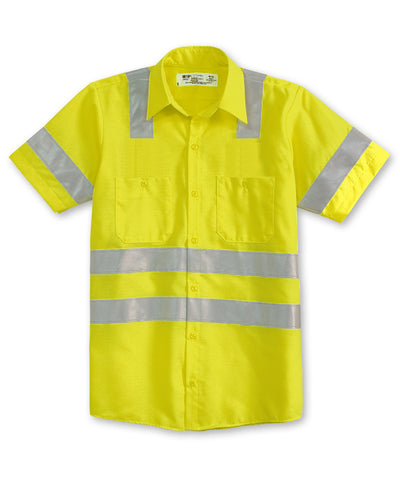 Fluorescent Yellow ANSI Class 3 High Visibility UniWeave® Work Shirts  Shown in UniFirst Uniform Rental Service Catalog
