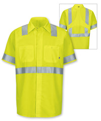 ANSI Class 2 MIMIX™ High Visibility Short Sleeve Ripstop Work Shirts (Fluorescent Yellow) as shown in the UniFirst Rental Catalog.