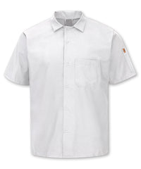 Men's MIMIX™ OilBlok Short Sleeve Cook Shirt (white) as shown in the UniFirst Rental Catalog