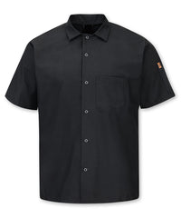 Men's MIMIX™ OilBlok Short Sleeve Cook Shirt (black) as shown in the UniFirst Rental Catalog