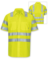 ANSI Class 3 MIMIX™ High Visibility Short Sleeve Ripstop Work Shirts (Fluorescent Yellow) as shown in the UniFirst Rental Catalog.