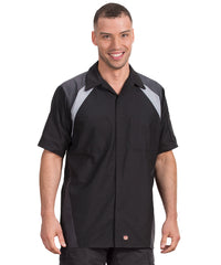 Black/Grey Tri-Color Ripstop Motor Sport Shirt Shown in UniFirst Uniform Rental Service Catalog