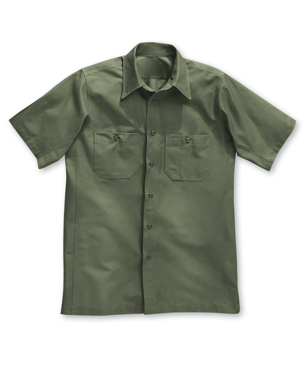 Olive Wrangler Workwear™ Canvas Short Sleeve Work Shirts Shown in UniFirst Uniform Rental Service Catalog