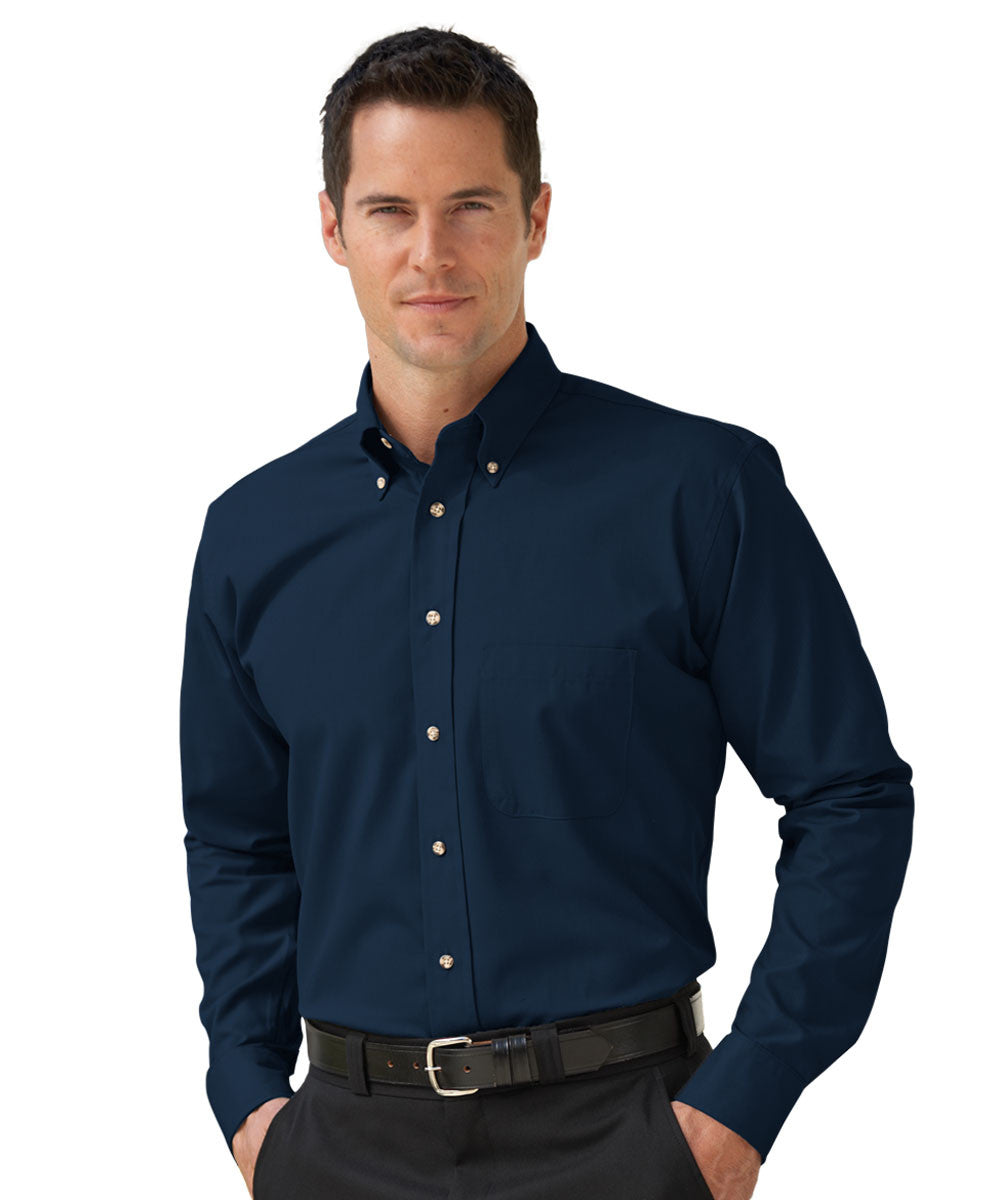 Navy Blue Button-Down Poplin Shirts Shown in UniFirst Uniform Rental Service Catalog