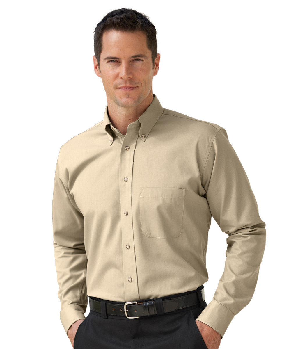 Tan Button-Down Poplin Shirts Shown in UniFirst Uniform Rental Service Catalog