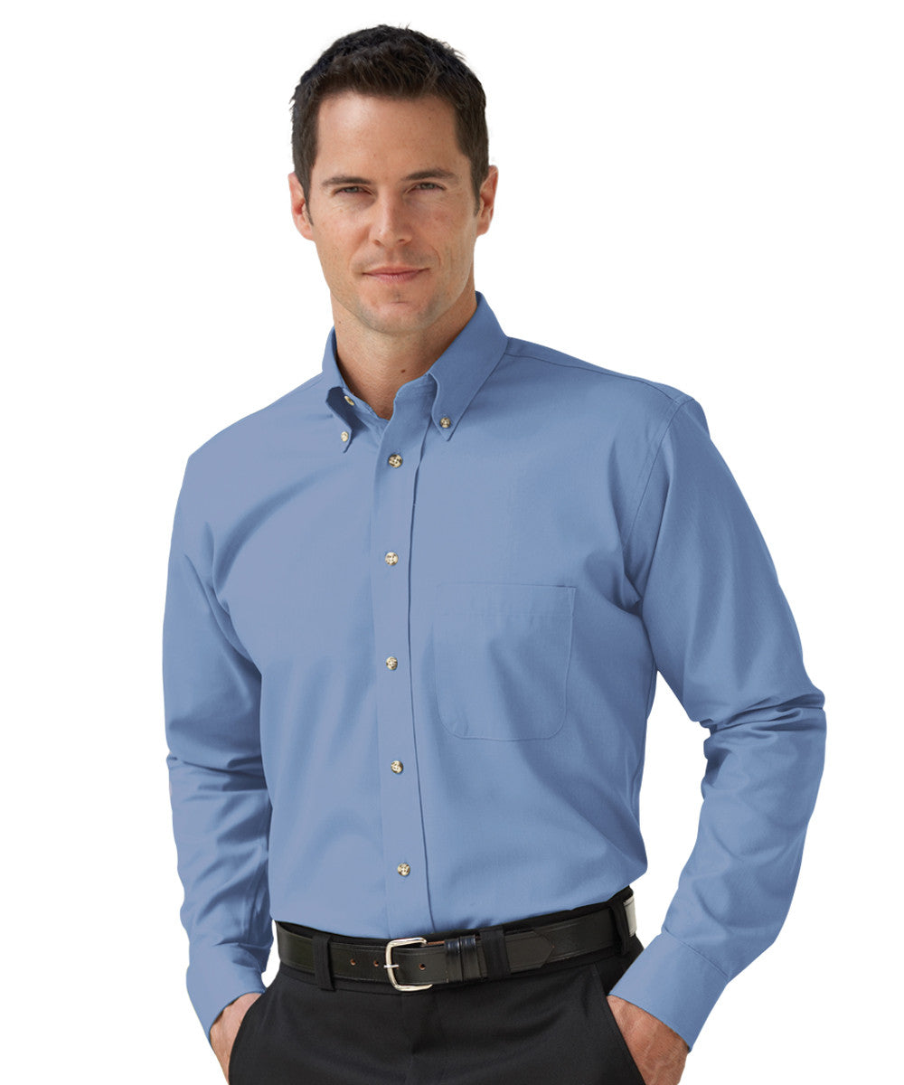Light Blue Button-Down Poplin Shirts Shown in UniFirst Uniform Rental Service Catalog