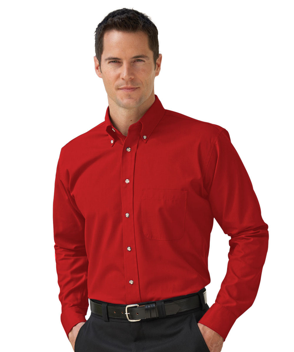 Red Button-Down Poplin Shirts Shown in UniFirst Uniform Rental Service Catalog