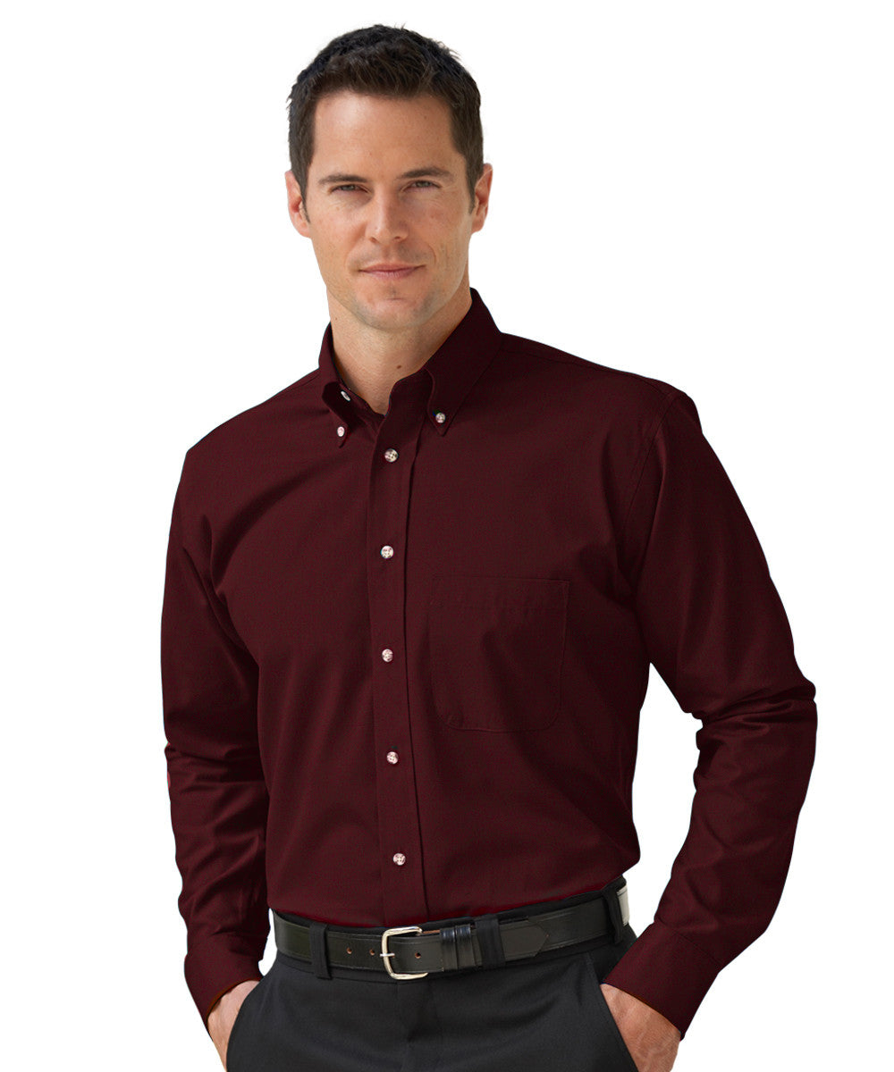 Wine  Button-Down Poplin Shirts Shown in UniFirst Uniform Rental Service Catalog