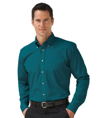 Dark Teal Button-Down Poplin Shirts Shown in UniFirst Uniform Rental Service Catalog