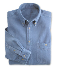 Light Blue Wrangler® Men's Button-Down Collared Shirts Shown in UniFirst Uniform Rental Service Catalog