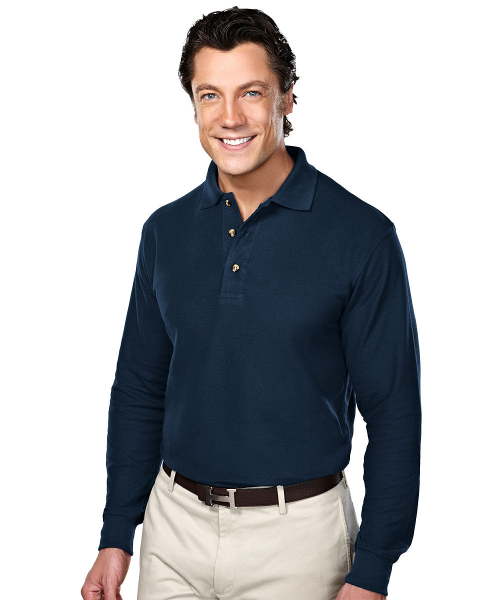 Navy Blue Blended Cotton Polos Shown in UniFirst Uniform Rental Service Catalog