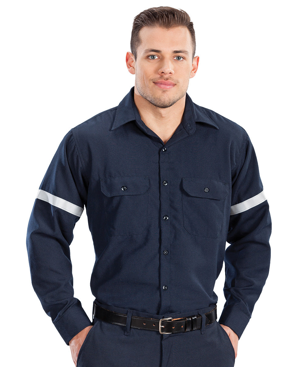 Navy Blue Armorex FR® Arc Rated Flame Resistant Work Shirts with Reflective Striping Shown in UniFirst Uniform Rental Service Catalog